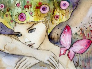 Watercolor image of girl and butterfly
