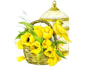 Watercolor painting of bird, birdcage, and flowers in a basket